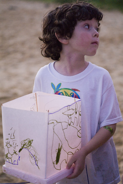 My son with a peace lantern. Because it was summer. And it's peace.