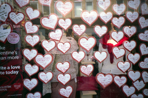 Valentines in the window of the British Heart Foundation Charity Shop - Uxbridge