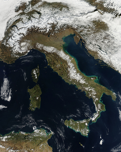 Snow in Italy (NASA Goddard Photo and Video NASA Goddard Space Flight Center)