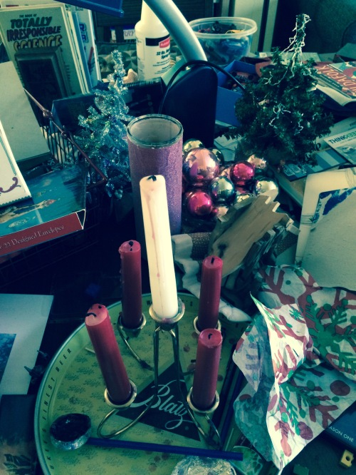 Gathering it up to put it away. NOTE THE HOLY BLATZ TRAY we use for the advent candles.